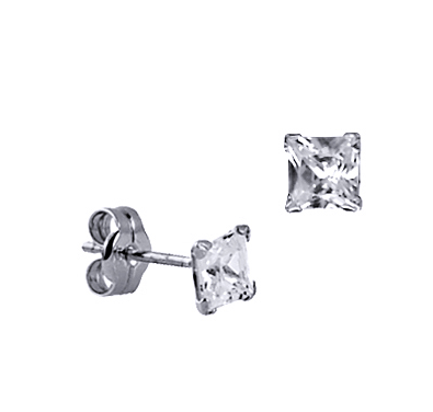 STERLING SILVER 4MM SQUARE CZ STUDS