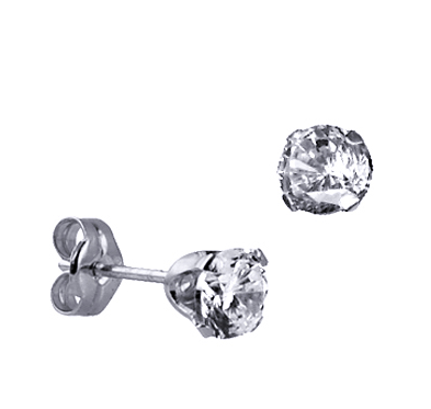 STERLING SILVER 5MM CZ STUDS