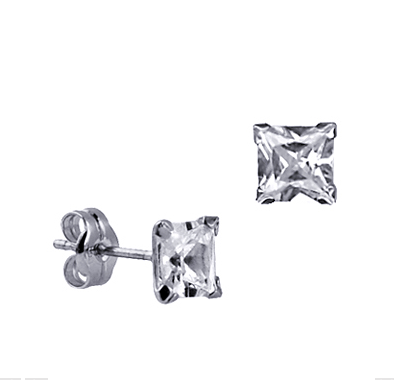 STERLING SILVER 5MM SQUARE CZ STUDS