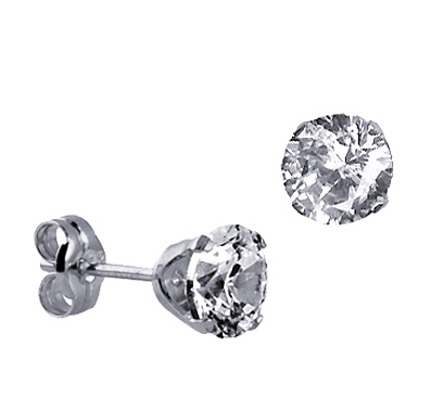 STERLING SILVER 6MM CZ STUDS