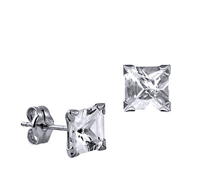 STERLING SILVER 6MM SQUARE CZ STUDS