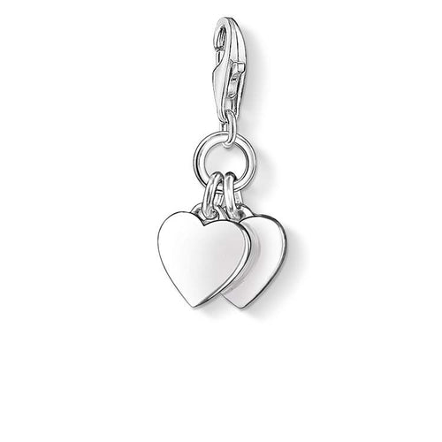 STERLING SILVER DOUBLE HEART THOMAS SABO CHARM