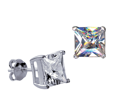 STERLING SILVER 8MM SQUARE CZ STUDS