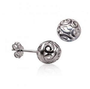 STERLING SILVER 8MM FILIGREE BALL STUDS