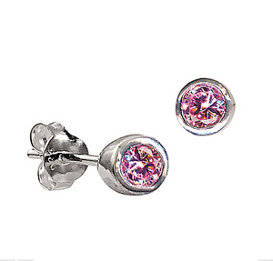 STERLING SILVER OCTOBER BIRTHSTONE STUDS