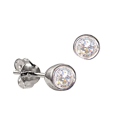 STERLING SILVER APRIL BIRTHSTONE STUDS