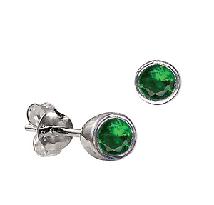 STERLING SILVER MAY BIRTHSTONE EARRINGS