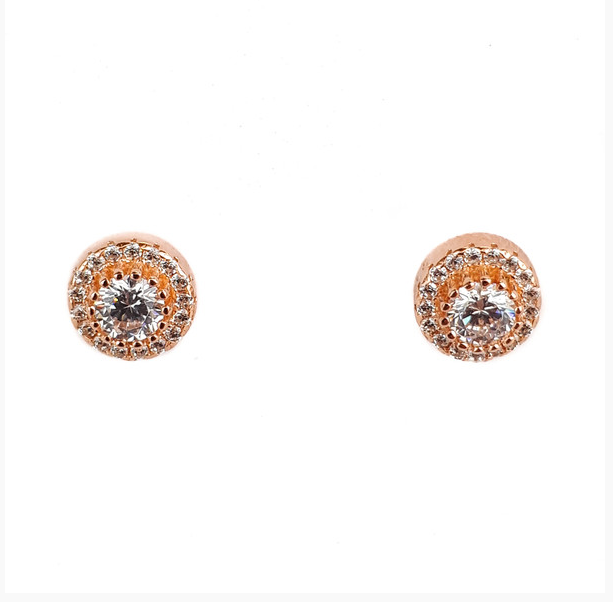 ROSE GOLD CZ HALO SANTO STUDS