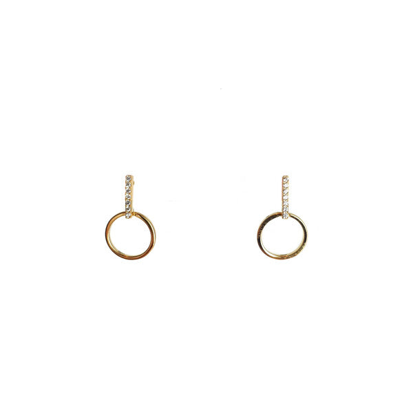 GOLD CZ BAR + OPEN CIRCLE SANTO STUDS