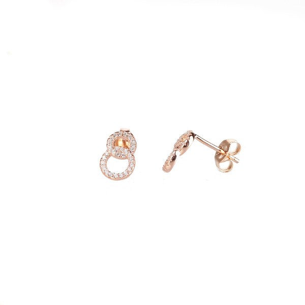 SANTO ROSE GOLD CZ DOUBLE CIRCLE STUDS