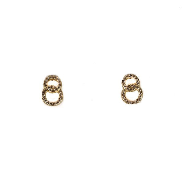 SANTO GOLD CZ DOUBLE CIRCLE STUDS