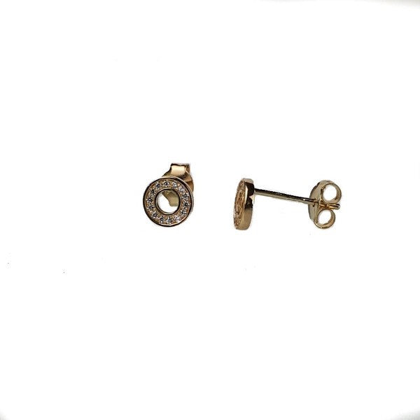 SANTO GOLD CZ OPEN CIRCLE STUDS