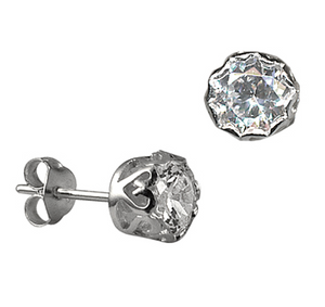 STERLING SILVER 6MM FILI CZ STUD EARRINGS