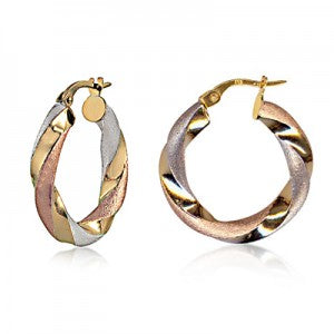 9CT THREE TONE TWIST HOOPS