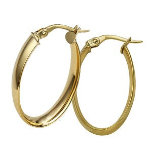 9CT YELLOW GOLD LARGE WIDE OVAL HOOPS