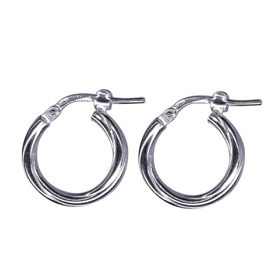 STERLING SILVER SMALL TWIST HOOP EARRINGS