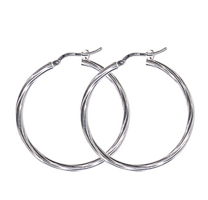 STERLING SILVER LARGE THIN TWIST HOOP EARRINGS