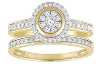 9CT GOLD DIAMOND HALO RING SET