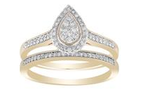 9CT GOLD TEAR HALO DIAMOND RING SET