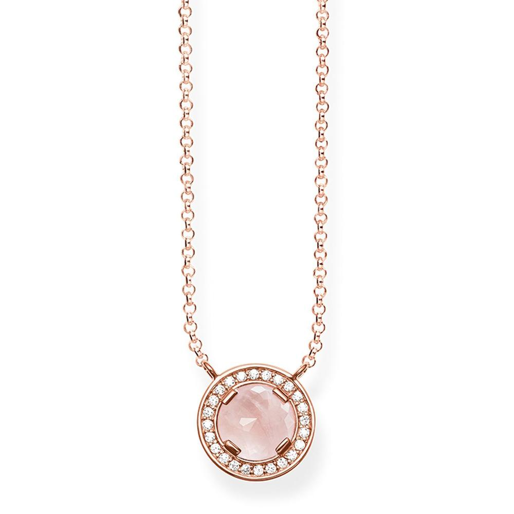 THOMAS SABO ROSE GOLD + ROSE QUARTZ NECKLACE