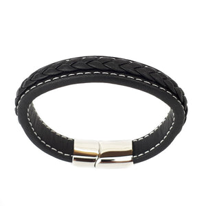 BLACK LEATHER STITCH MENS SANTO BRACELET