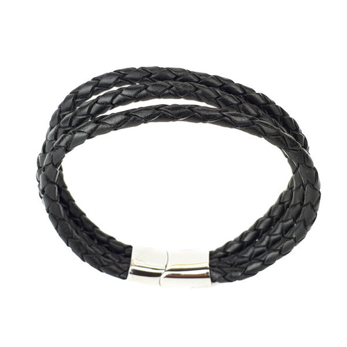 LEATHER 3 STRAND PLAITED MEN'S BRACELET
