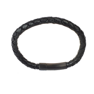 BLACK LEATHER PLAITED MEN'S BRACELET