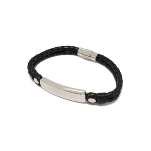 LEATHER PLAITED MEN'S ID BRACELET