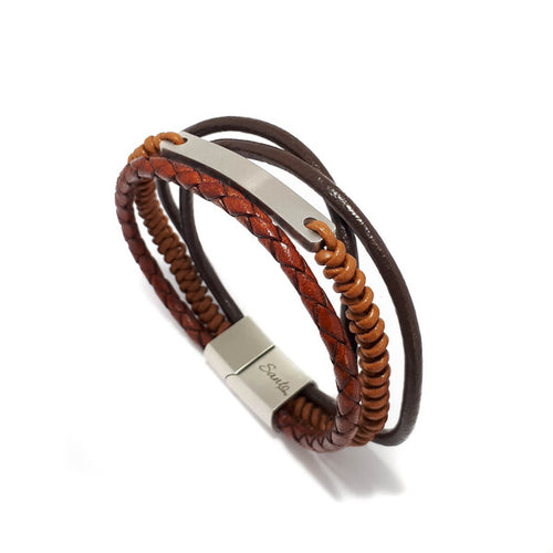 LEATHER TAN MULTI STRAND ID MEN'S BRACELET