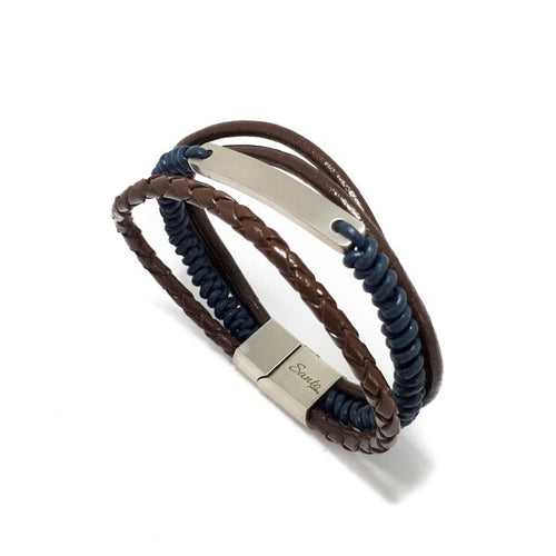 LEATHER MULTI STRAND MEN'S ID BRACELET
