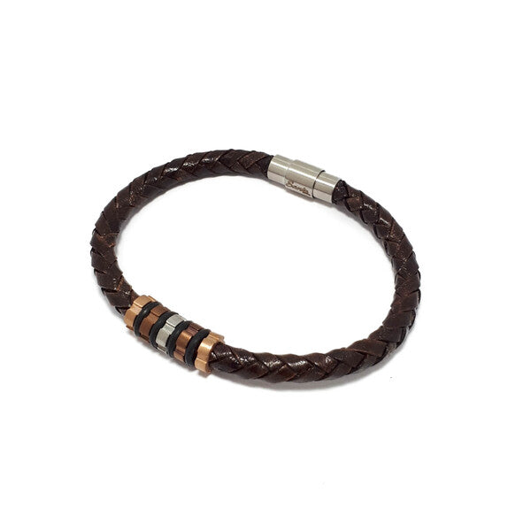BROWN LEATHER TUBE MEN'S BRACELET WITH BEADS