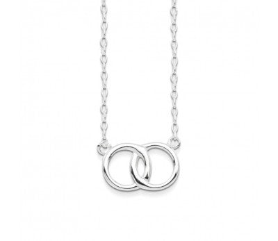 STERLING SILVER 2 RINGS OF FRIENDSHIP NECKLACE