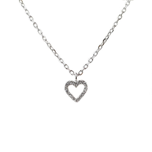 SANTO SILVER CZ HEART NECKLACE