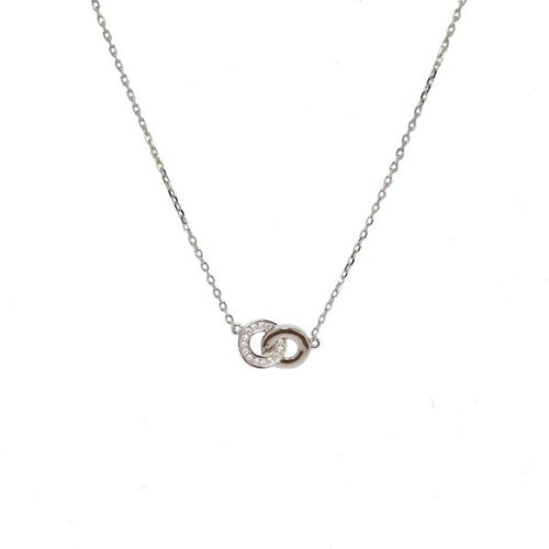 SANTO SILVER CZ DOUBLE CIRCLE NECKLACE