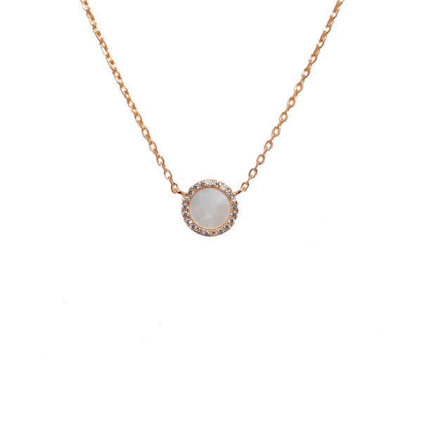 SANTO ROSE GOLD MOTHER OF PEARL CZ NECKLACE