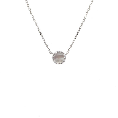 STERLING SILVER MOTHER OF PEARL CZ SANTO NECKLACE