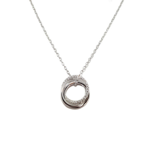 STERLING SILVER 3 CIRCLES CZ SANTO NECKLACE