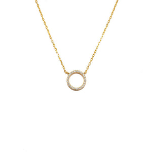 GOLD OPEN CIRCLE CZ SANTO NECKLACE
