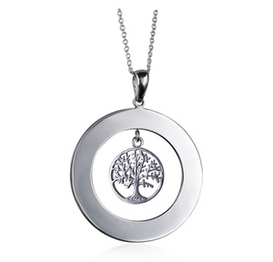 STERLING SILVER TREE OF LIFE ENGRAVABLE NECKLACE
