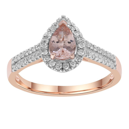 9CT ROSE GOLD MORGANITE + DIAMOND RING