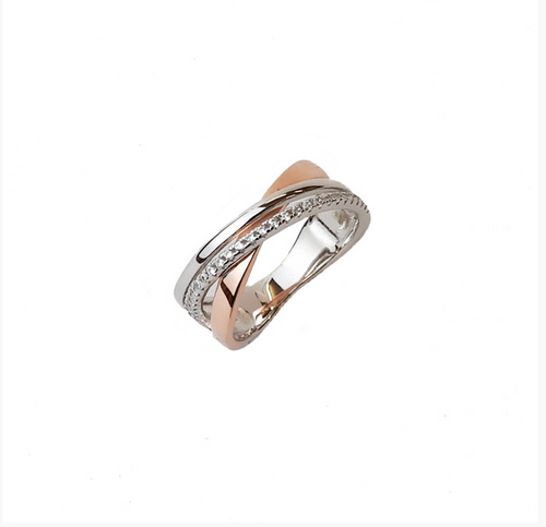 ROSE GOLD + STERLING SILVER CZ CROSSOVER SANTO RING