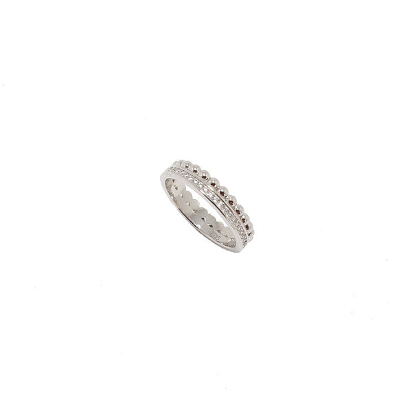 STERLING SILVER CZ + DOT SANTO RING