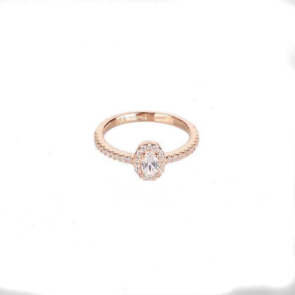 SANTO ROSE GOLD OVAL CZ HALO RING