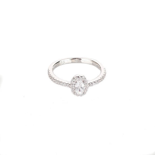 SANTO SILVER OVAL CZ HALO RING