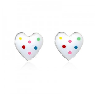 STERLING SILVER DOT HEART STUD EARRINGS