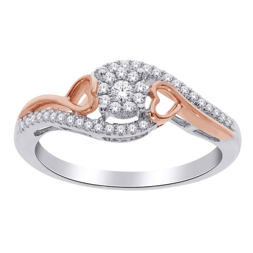 10CT ROSE AND WHITE GOLD DIAMOND RING