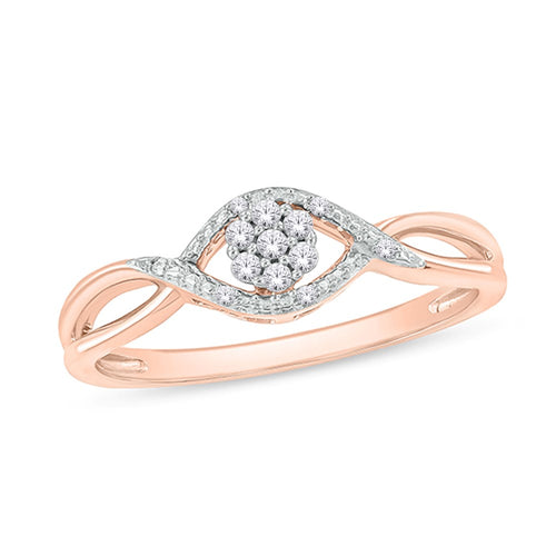 14CT ROSE GOLD DIAMOND RING