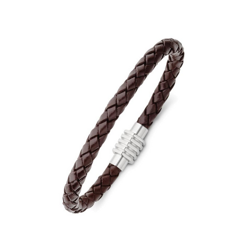 STAINLESS + BROWN LEATHER MENS BRACELET
