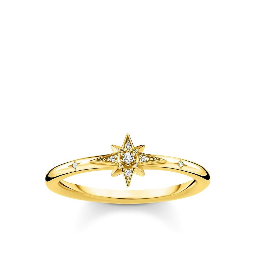 THOMAS SABO YELLOW GOLD CZ STAR RING