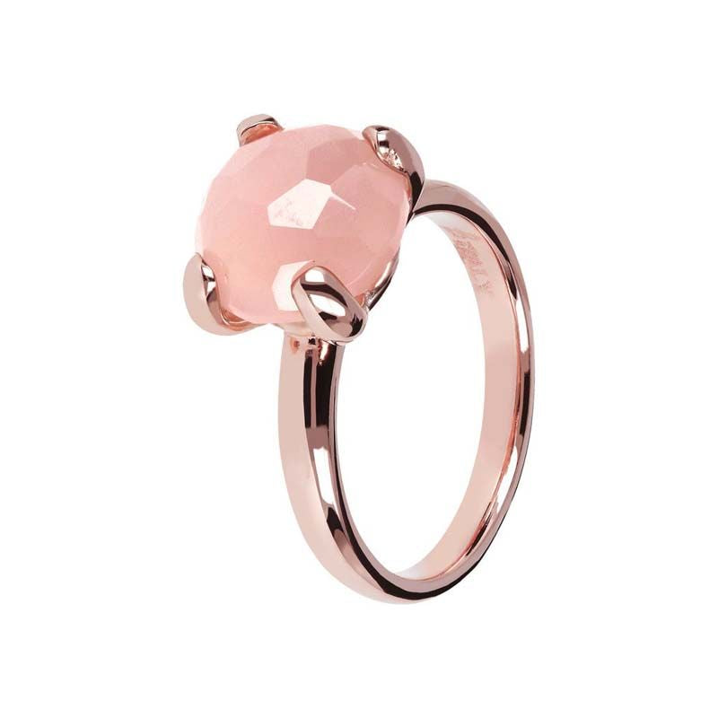 BRONZALLURE ROSE GOLD + ROSE QUARTZ RING